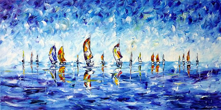 oilpainting,modern,impressionism,boatrace,yachtrace,sailingregatta,regattasailing,boats,sailboats,yachts,sailing,rowing, canoeing,dragonboats,windsurfing,watersports,seascape
