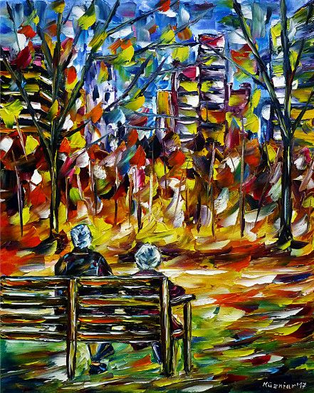 oilpainting, impressionism, autumn, retiree, bench, sitting, city