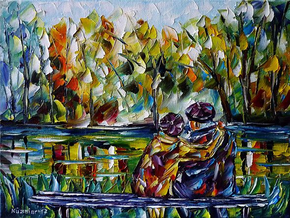 oilpainting, impressionism, retiree, pensioners, seniors, lake, bench, sitting, autumn