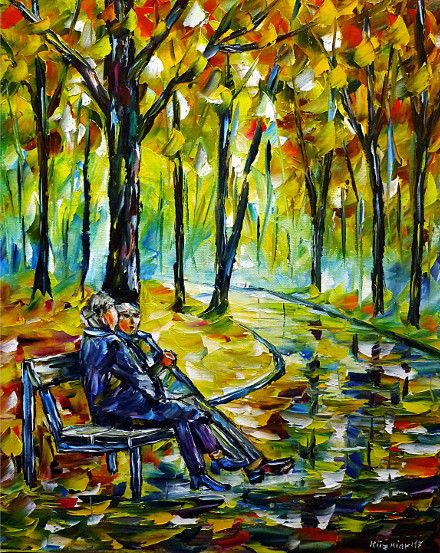 oilpainting, impressionism, autumn, retiree, bench, sitting, landscape, autumnlandscape