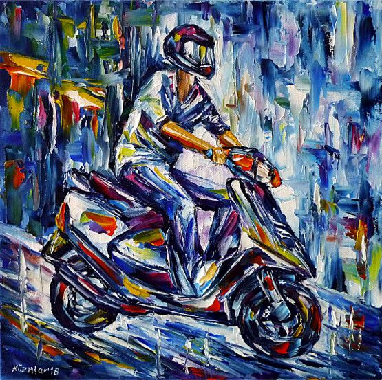 oilpainting,modern,impressionism,motorscooter,scooterdriving