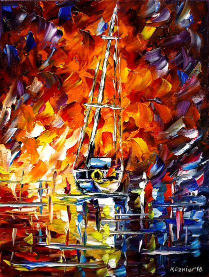 oilpainting,modern,impressionism,abstractpainting,yacht,fishingboat,cutter,harborintheevening,eveningskypainting,seascape,