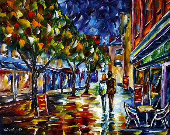 oilpainting, impressionism, lovecouple, walking, cityscape, evening