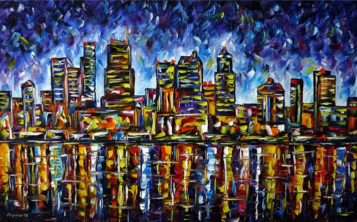 oilpainting, impressionism,skycrapers,seattleintheevening,seattleatnight,america,cityscape,citypainting,skylinepainting,skypainting,waterpainting,sunset