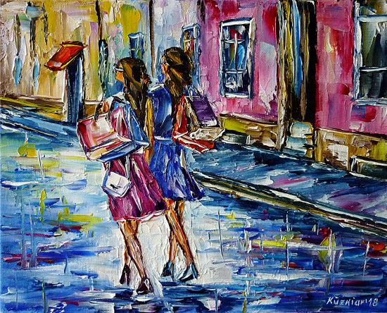 oilpainting,modern,impressionism,cityscape,cityscene,mode,girls,women,young,fashion,fashionhouse,shoppingmall,departmentstore