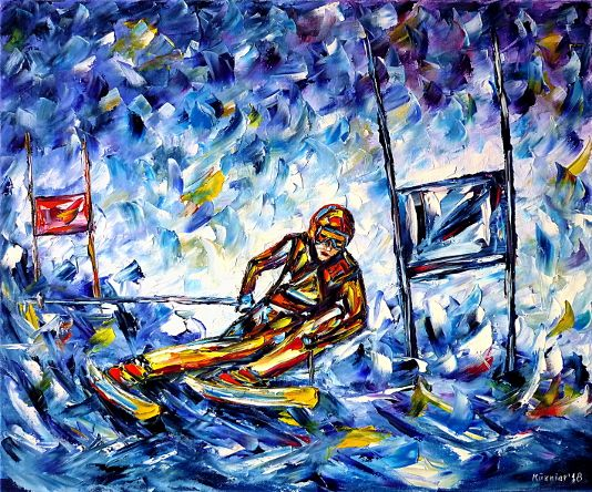 oilpainting,modern,impressionism,wintersports,slalomskie,skiing,goalkeeping,slalomrunning,snow,mountains,alps,racer,races,running,racing,world cup, slalompoles,nightslalom