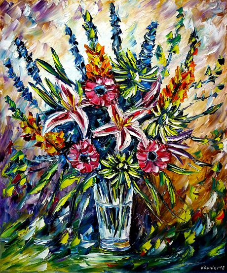 oilpainting,modern,impressionism, flowerpainting,springflowers,summerflowers,bouquet,flowers-in-vase,stilllife,colorful-bouquet