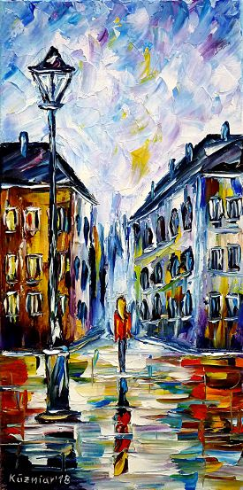 oilpainting,modern,impressionism,cityscape,citypainting,woman,girl,walking,alone,colorful,rainyday,cityintherain,raininthecity,wetstreets,lantern,streetlantern