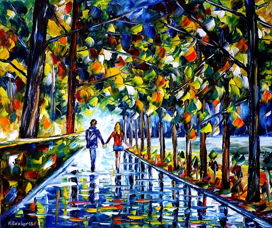 oilpainting,modern,impressionism,lovecouple,lovers,walking,handinhand,landscapepainting,park,nature,summer,autumn,spring,autumnmood,rain,wetstreet,rainyday,autumnday,lively,colorful