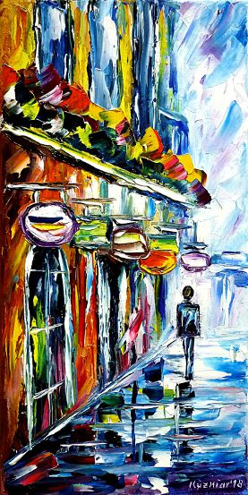 oilpainting,modern,impressionism,cityscape,citypainting,man,walking,alone,colorful,rainyday,cityintherain,raininthecity,wetstreets,flowersinwindow