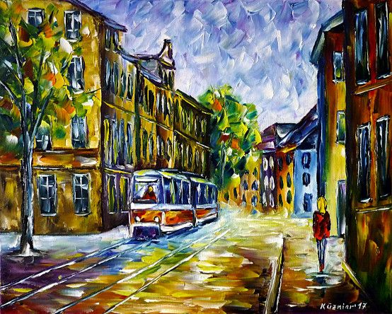 oilpainting, impressionism, tram, lightrail, thueringen, cityscape, eastgermany, trolley