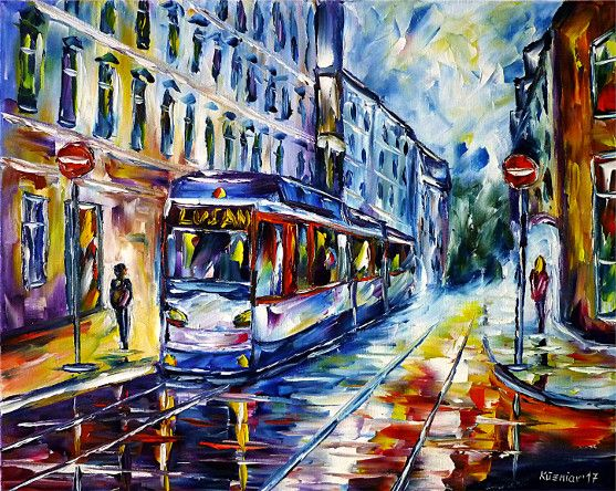 oilpainting, impressionism, lightrail, thueringen, cityscape, eastgermany, trolley