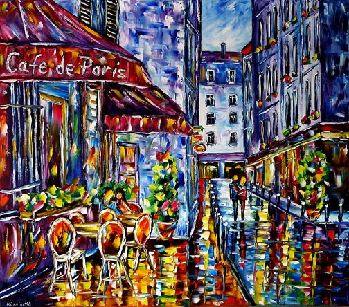 oilpainting,modern,impressionism,cafedeparis,cityoflove,lovecouples,lovers,walking,handinhand,restaurant,cityscape,cityscene,france,foodanddrink,flowers,lively,colorful