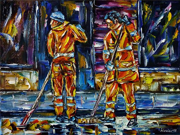 oilpainting,modern,impressionism,streetcleaners,garbagemen,cityscape,cityscene,autumn,leaves,streetsweeping,roadsweeping,roadsweepers