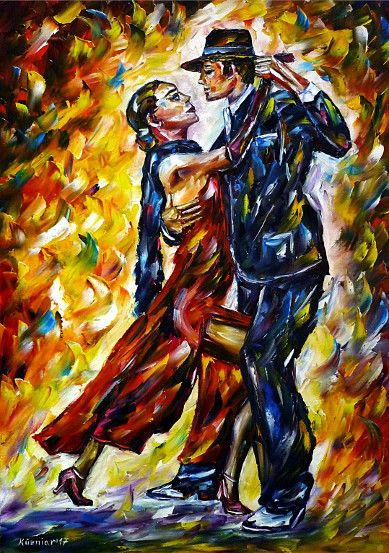 oilpainting, impressionism, dance, dancing, argentina, tangodancers, dancers, music