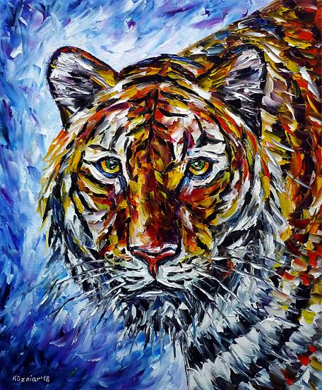 oilpainting, impressionism, tigerportrait,asia,animals,animalportrait,animalpainting,tigerpainting,tigerlove, animallove