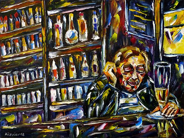 oilpainting,modern,impressionism,alcoholic,drunkard,drinking,booze,alcohol,pub,sleeping-at-the-food,addiction,alcoholism,bar, brandy,vodka,sleeping-at-the-counter