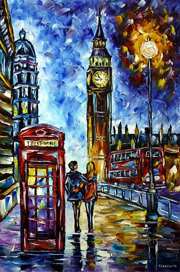 oilpainting,modern,impressionism,london-in-the-evening-lovecouple,walking,love,phone-box,westminster,big-ben,bus,double-decker,lantern-in-the-evening,cityscape