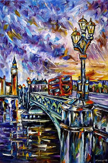 oilpainting,modern,impressionism,london,westminsterbridge,london-bridge,tower-bridge,big-ben,bus,double-decker,lantern-in-the-evening,cityscape