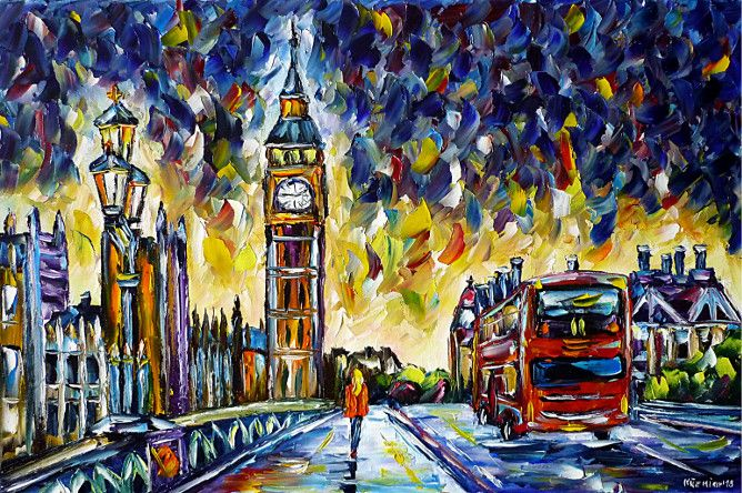 oilpainting,modern,impressionism,london,wesrminsterintheevening,westminsterbridge,woman,walking,london-bridge,tower-bridge,big-ben,bus,double-decker,lantern-in-the-evening,cityscape