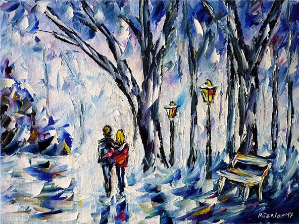 oilpainting, impressionism, winter, park, winterpark, walk, love, lovers, lovecouple, snow, white
